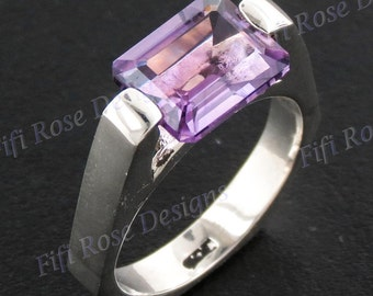 Opulent 4ct Amethyst 925 Sterling Silver Us 8 Ring