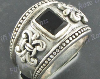 Gorgeous Onyx Gems 925 Sterling Silver Sz 8 Ring