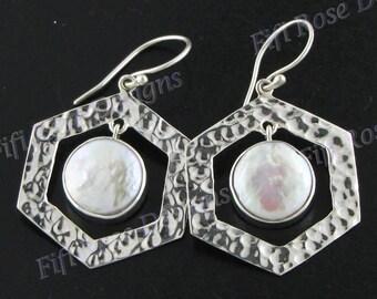 "1 1/16"" Design Biwa Pearl 925 Sterling Silver Earrings"