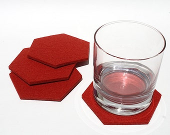 Hexagon Drink Coasters Cherry Red
