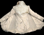 Sweater coat White felted winter jacket boiled wool Eco friendly unique woodland fantasy