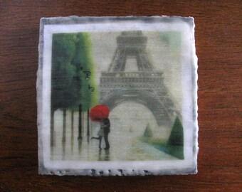 6X6 Encaustic Paris Love, Eiffel Tower, Red Umbrella Mixed Media Wax (Encaustic) Collage on Cradled Birch Panel. SFA (Small Format Art)