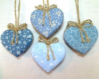 Blue Heart Ornaments | Party Favors | Wedding/Bridal | Home Decor | Tree ornament | Holidays | Party Supply | Handmade Ornament | Set/4 | #1