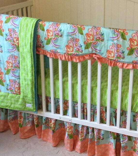 Peach And Aqua Bedroom: Crib Bedding Set Peach Green And Aqua By Butterbeansboutique
