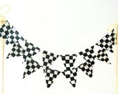 Race Car Cake Banner Bunting, Racing Birthday Cake Topper -- Mini Black, White Checker Fabric Flags, Party Decor, Baby Shower