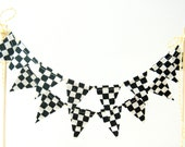 Racing Car Cake Banner Bunting, Racecar Birthday Cake Topper -- Mini Black, White Checker Fabric Flags, Party Decor, Baby Shower