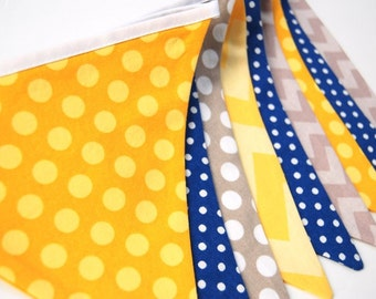 SALE -- Navy, Yellow, Gray Bunting Banner, for Vintage Airplane Birthday Party -- Fabric Flags -- Ready to Ship