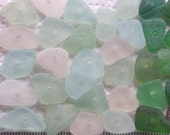 32 Sea Glass Shards Beach String Beads Centre Drilled 3mm holes Imperfections Craft Supplies (1781)