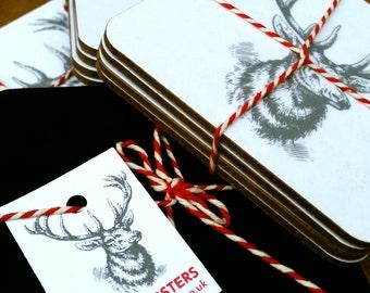 Set of 4 Reindeer Christmas coasters