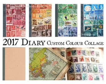 2017 Diary Notebook - New Year Gift, Custom Colour Postage Stamp Collage Calendar Book   Penpal Writer Office Gift   A6 Pocket Month Planner