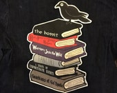 Custom Book Stack large back patch with any 6 books you choose personalized bibliophile book lover