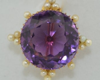 Edwardian 9K Yellow Gold Fine Amethyst and Pearl Pin Brooch
