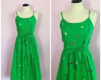 Vintage Hawaiian 1970s Dress/ Novelty Print/ Butterflies/ S