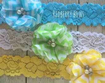 Folded RHINESTONE and PEARL FLOWER Headband…Set of Three Colors