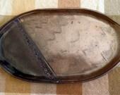 Rustic oval PLATTER, handmade stoneware