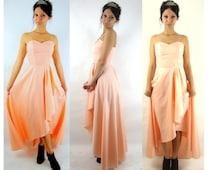 vintage long pink prom dress / hi lo hem / sweetheart s / xs