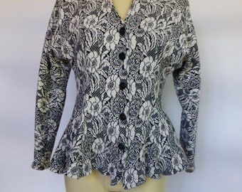 1980s Peplum Jacket Top SZ S Soft Knit Black & White Floral