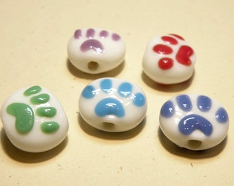 DESTASH -- Five (5) White and Assorted Colors Paw Print Lentil Lampwork Beads: Set 2 -- Lot  UU