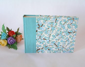 Photo album - aqua plum blossom chiyogami - 6x8in.15x20.5cm -30 pages  - Ready to ship
