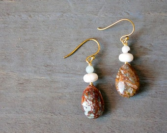 Jasper, River Rock and Amazonite Drop Earrings