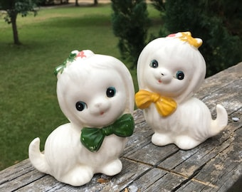 Vintage Ceramic Dog Pair--Cute Kitschy Puppies--Cocker Spaniel--Cottage Chic--Dog Lover Collector