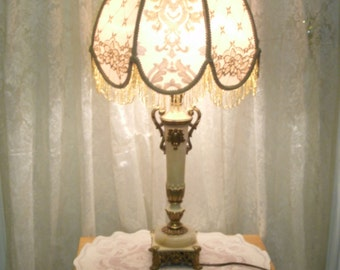 "Vintage 1930's  24"" table lamp with Embroidered  lampshade"