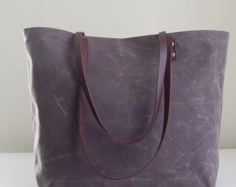 Dark Oak Waxed Canvas Medium Tote Bag with Leather Straps - Ready to Ship