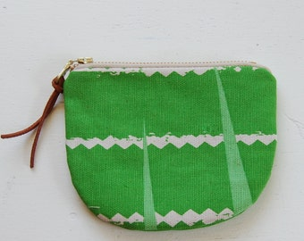 Squiggle on Green Padded Round Zipper Pouch / Coin Purse / Gadget / Cosmetic Bag - READY TO SHIP
