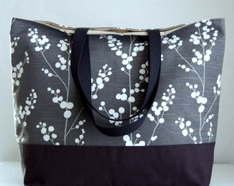 Evelynne Graphite XL Extra Large BIG Tote Bag  / Beach Bag - Ready to Ship