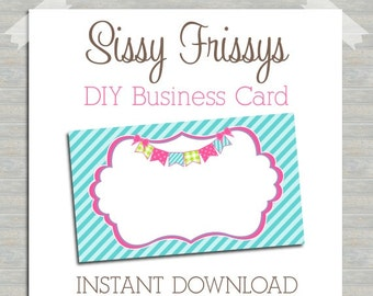 INSTANT DOWNLOAD - DIY Bunting Banner Business Card - Digital File - Blank Template - Business Card File - Earring Jewelry Card