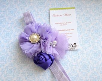 Lovely Lavender Triple Shabby Chiffon Flower Stretch Headband