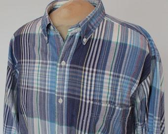 80's  Soft Cotton Shirt /  Mens / Blue Plaid / Eddie Bauer / Large