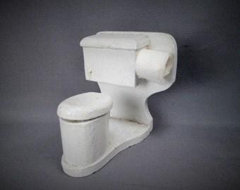 "Antique Wooden Dollhouse Furniture - Bathroom Toilet  - 1"" Scale"