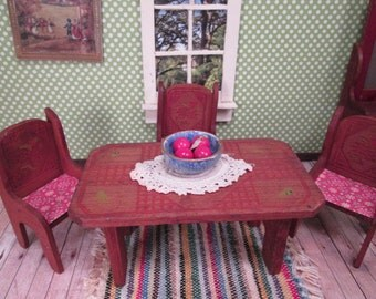 """Vintage Dollhouse Furniture - Wooden Table and Three Chairs - 1"""" Scale"""