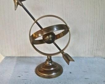 Vintage Brass Armillary Sundial Globe Sculpture Nautical Home and Living Vintage Decor Rustic Nautical Sphere Bookshelf Decor Seaside Decor