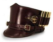 STEAMPUNK LEATHER SHAKO hat brown leather Ammo holder design