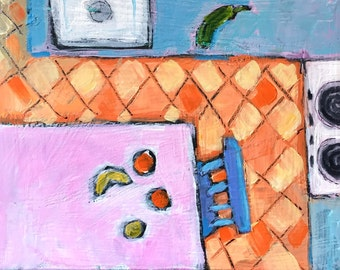 "Sunday Kitchen - Original Acrylic Oil Encaustic Still Life Painting- 10""x 8"""