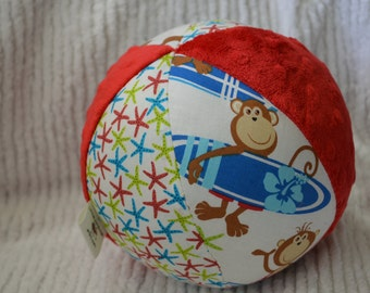 """Surfing MONKEY Baby Toy Cloth Jingle Ball LARGE 7"""""""