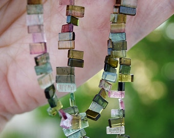 """Shades of Green n Pink Watermelon Tourmaline Smooth Slice Petal Briolette Drop Beads 6-7.5mm 3"""" strand 22-23 beads"""