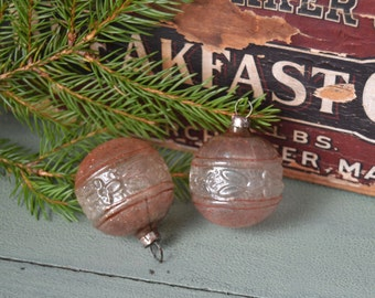 2 Vintage Unsilvered Floral Glass Christmas Ornaments