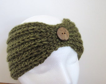 Ready To Ship Ladies' Olive Ear Warmer - Crochet Olive Ear Warmer - Women's Green Ear Warmer - Crocheted Ear Warmer - Crochet Olive Headband
