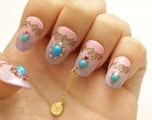 Party nail, holiday nail art, nail dangling, belly dance, Arabian nights, Jasmine, cosplay, party accessory, ombre nail, oval nail, 4D nails