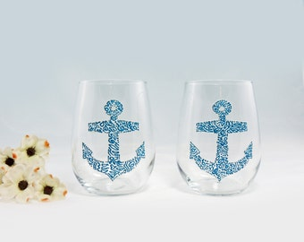Anchor hand painted stemless white wine glasses - Set of 2 - Sea Glass Collection