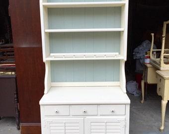 White hutch and cabinet
