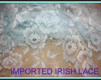 Blue lace finished edges imported designer original 40 in wide