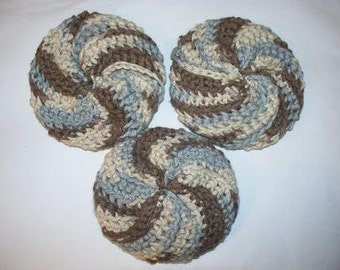 Set of 3 Spiral Scrubbie, Crochet Dishcloths, All Cotton / Puffy Wash Cloth, Pot Scrubber (Free US Shipping)