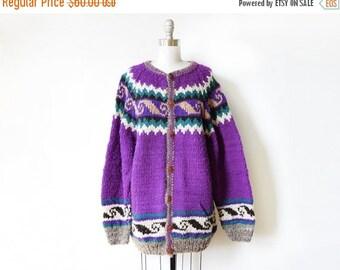 5O% OFF SALE vintage wool cardigan, handmade purple cowichan cardigan, oversized chunky wool cardigan
