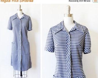 50% OFF SALE blue gingham dress, vintage 70s mod dress, medium large blue and white plaid dress dress