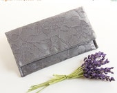 Dark Silver Clutch, Satin Clutch, Silver Lace Clutch, Gray Clutch, Bridesmaid Clutch, Lace Wedding Clutch, Metallic Wedding, Modern Vintage