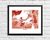 Madison Wisconsin Art Map Print.  Color Options and Size Options Available.  Perfect for your University of Wisconsin Madison Badger.